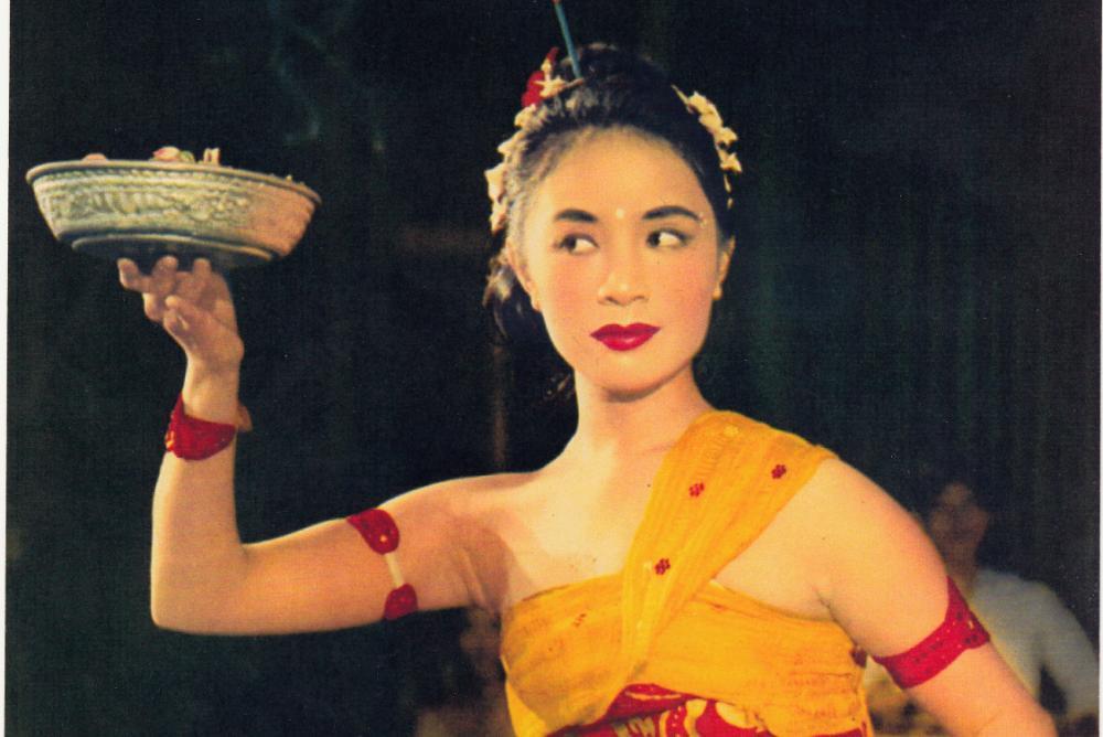 dancer, bowl, orange, red, yellow, woman