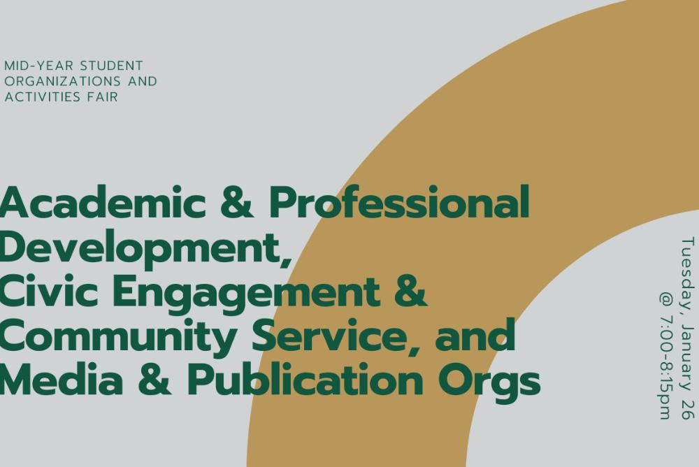 Academic and Professional Development, Civic Engagement and Community Service, and Media and Publication Orgs