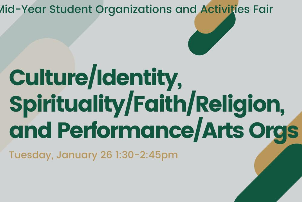 Culture/Identity, Spirituality/Faith/Religion, and Performance/Arts Organizations