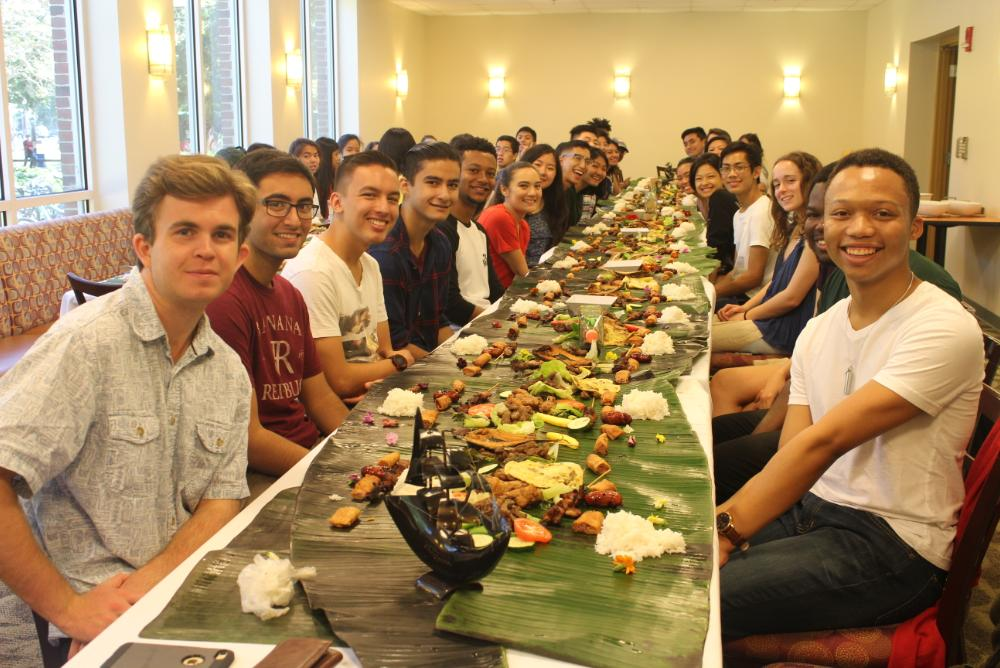 The members and friends of FASA join together to celebrate Kamayan during Homecoming 2017.