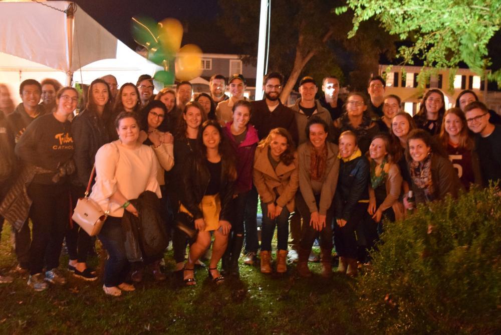 Alumni gather for last year's Homecoming Biergarten