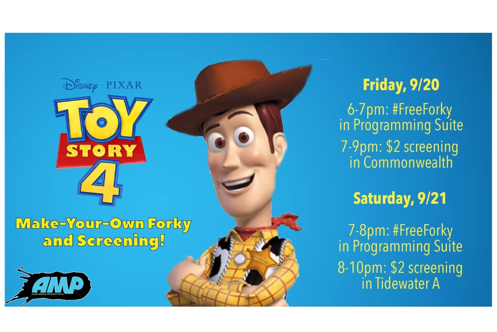 AMP is hosting an event where they screen Toy Story 4 and have an activity where you can create your own Forky before screenings on Friday and Saturday.