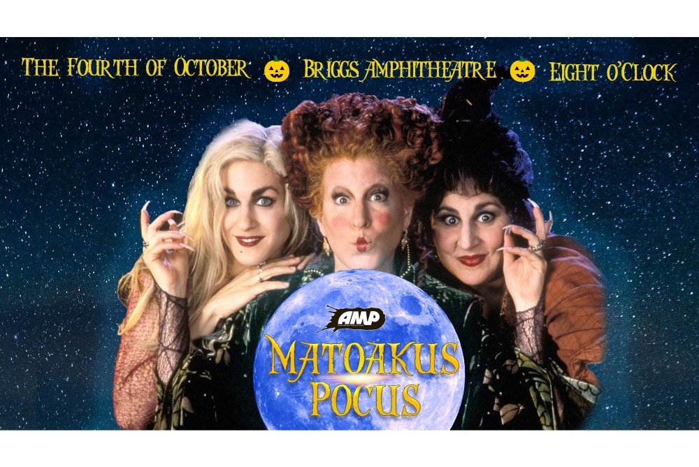 The three witches from the Disney film, Hocus Pocus, surround a miniature moon with the words