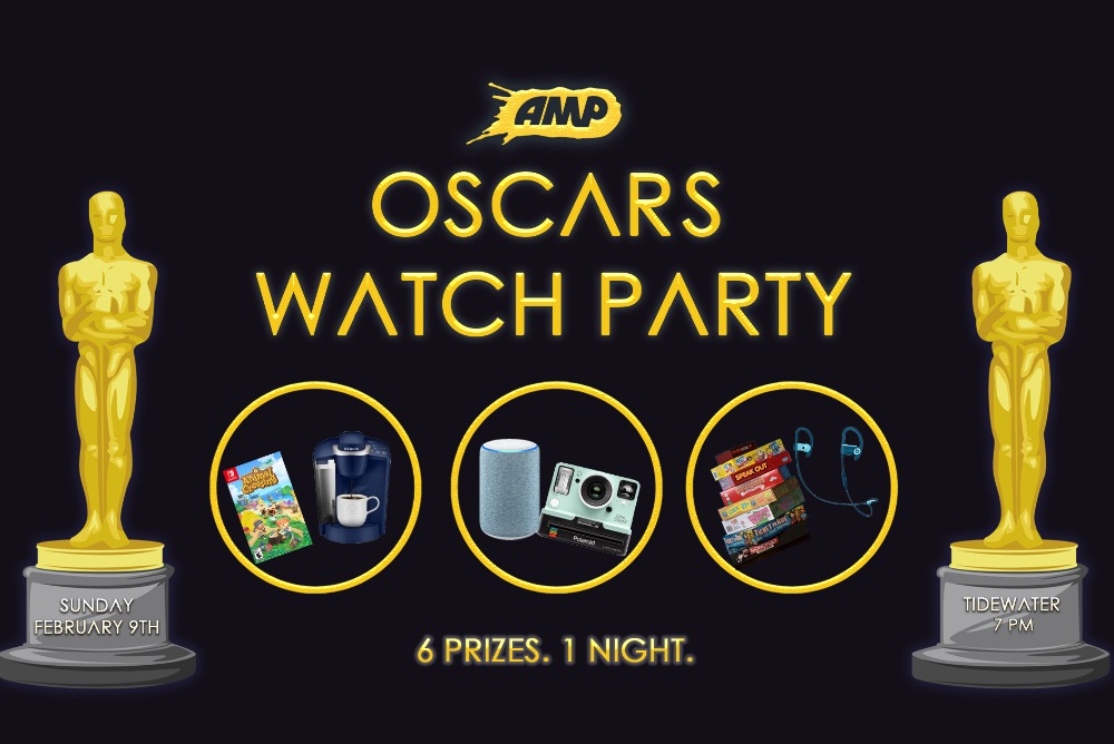 Prizes for the AMP Oscars Party are on the graphic accompanied by two Oscar statues with the date and time for the event.