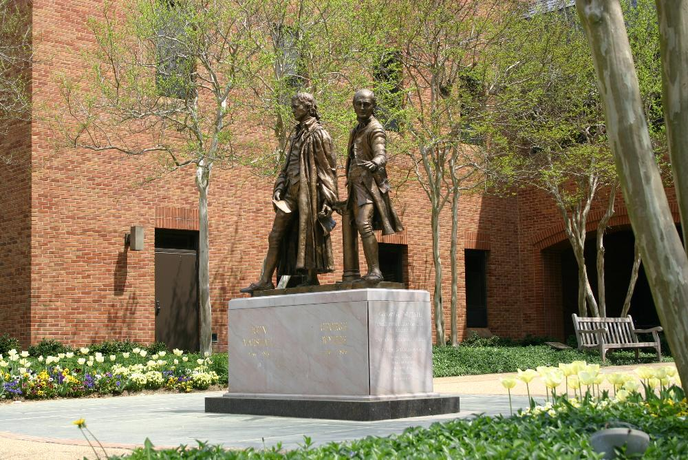 statues in front of Law School, George Wythe & John Marshall