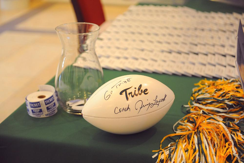 William & Mary football on a table.