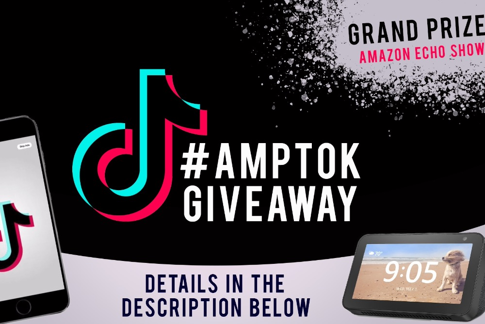 AMP TikTok Giveaway w/ TikTok Logo and image of Amazon Echo Show 5