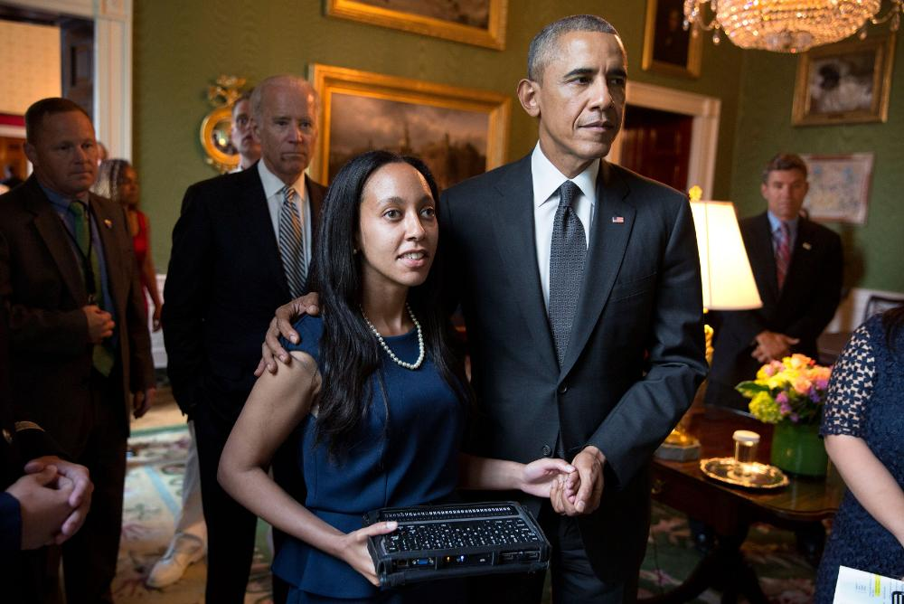 Haben Girma with President Barack Obama prior to her remarks at the White House event for the 25th Anniversary of the Americans for Disabilities Act in 2015.  Photo by Pete Souza.