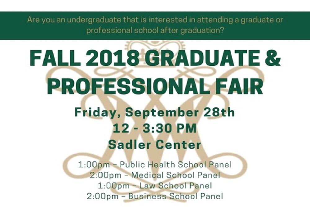 2018 Graduate & Professional School Fair details