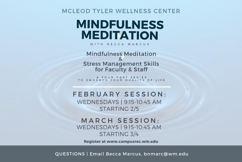 Mindfulness Meditation Series for Faculty and Staff