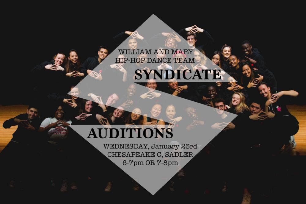 Members of Syndicate throwing the Syndicate symbol at the Fall 2018 Showcase