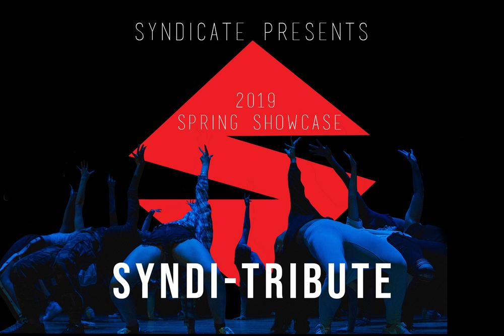 A photograph from the last semester's dance showcase atop the Syndicate logo