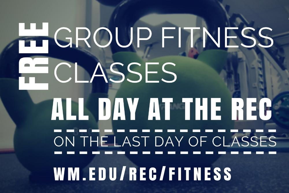 Free Group Fitness on the Last Day of Classes