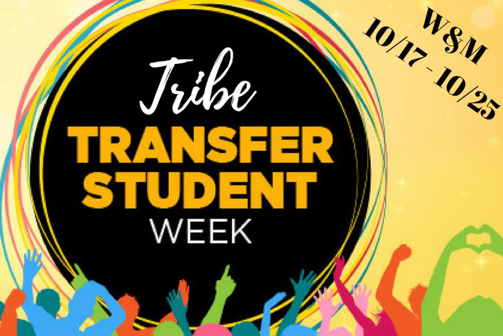 Tribe Transfer Student Week Graphic text on black circle background with vibrantly-colored figures c