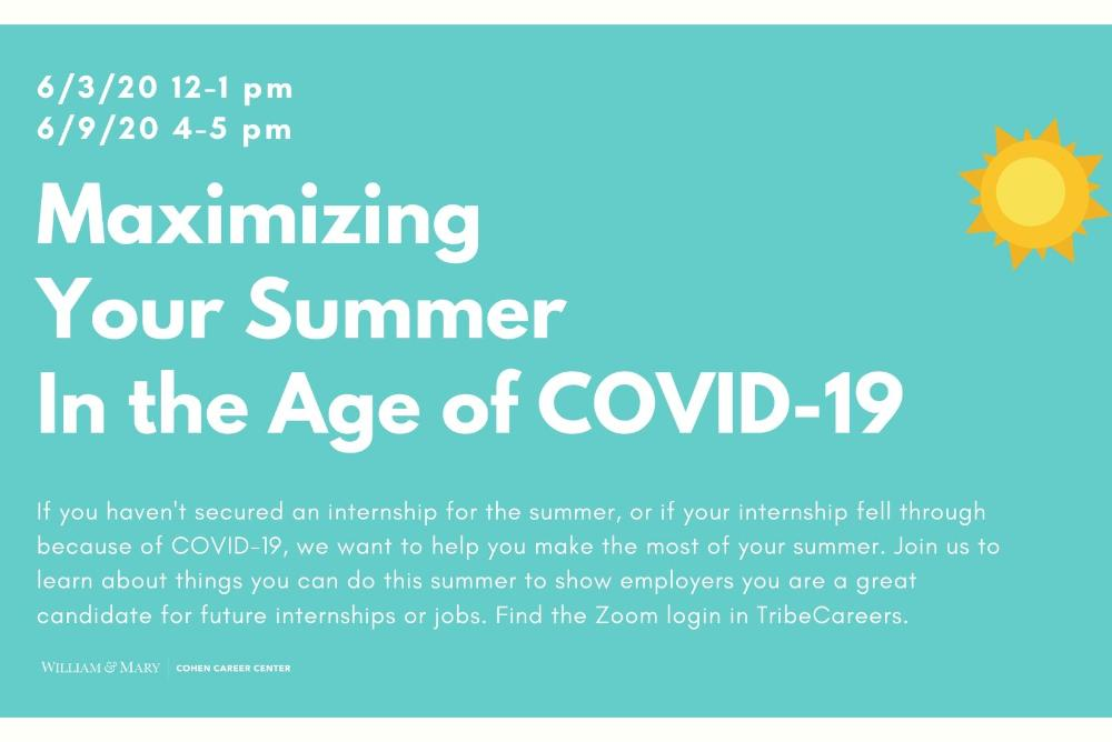 Maximizing Your Summer in the Age of COVID-19 Workshops