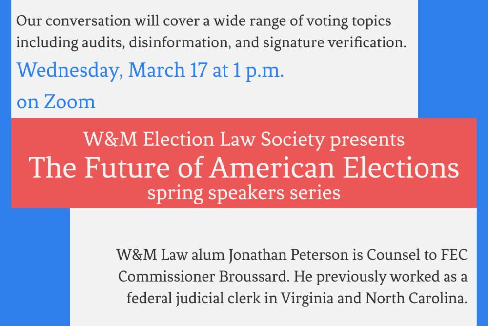 Our conversation with Mr. Peterson is part of a two part series highlighting alumni who are currently working in the world of election law.