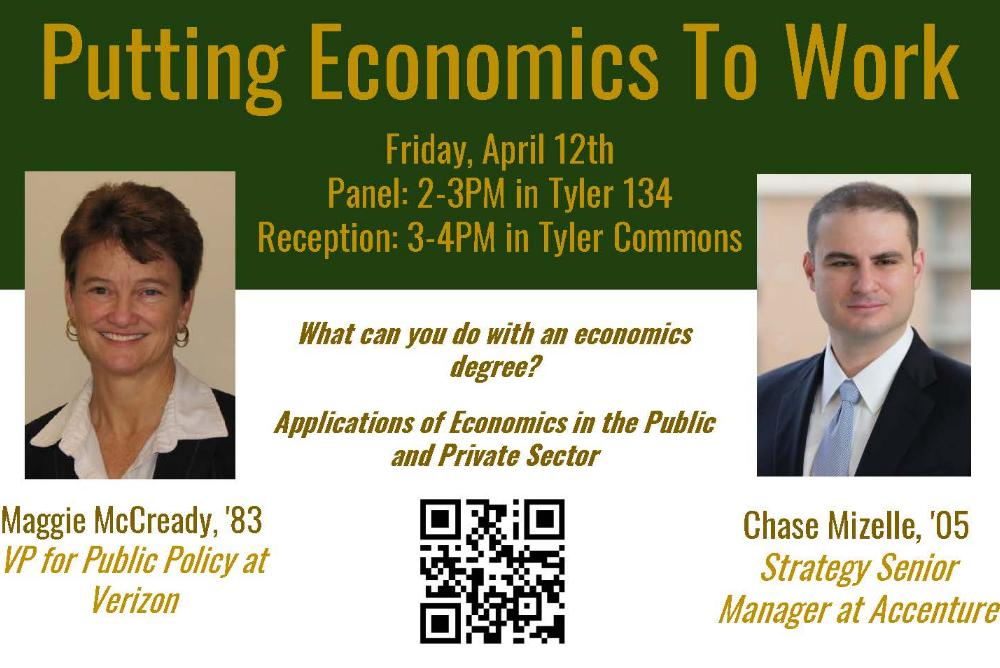 Event Flyer - Putting Economics to work with Maggie McCready '85 and Chase Mizelle, '05