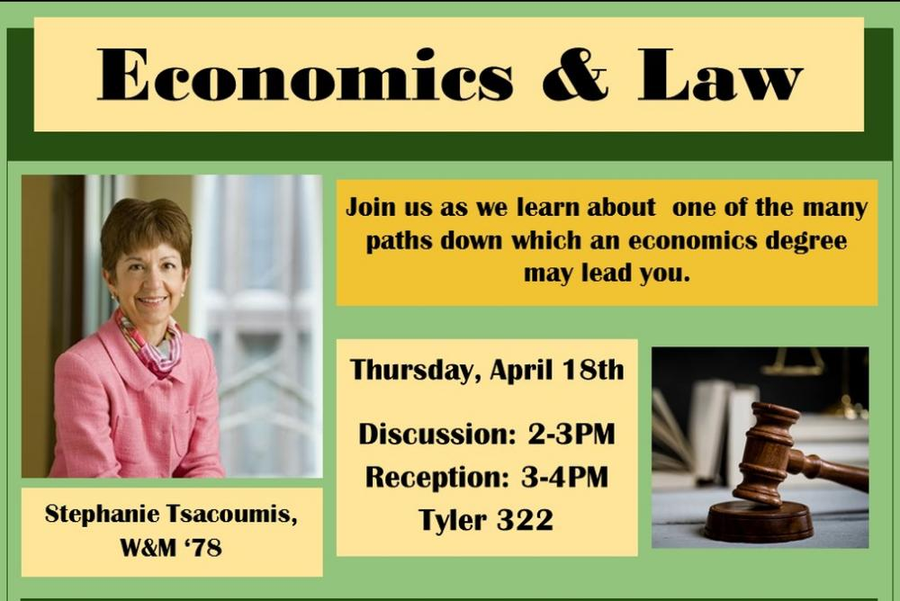 Event Flyer - Economics & Law with Stephanie Tsacoumis