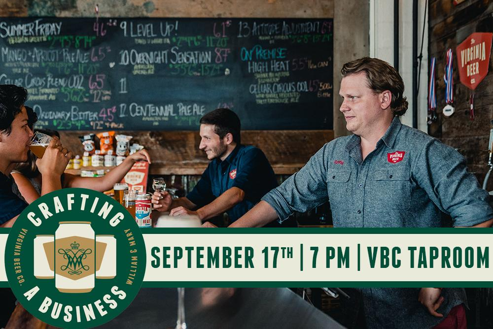 Image depicts owners of The Virginia Beer Company, Robby and Chris, in their Taproom as well as the date and time of event. (September 17th - 7PM).