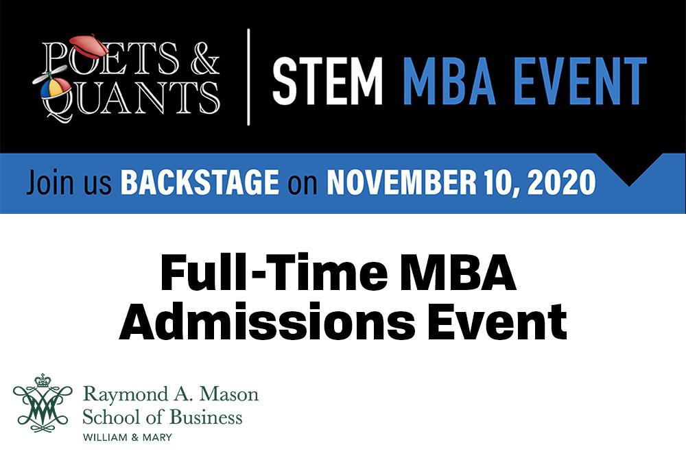 William & Mary School of Business - Full-Time Admissions Event is written in Text