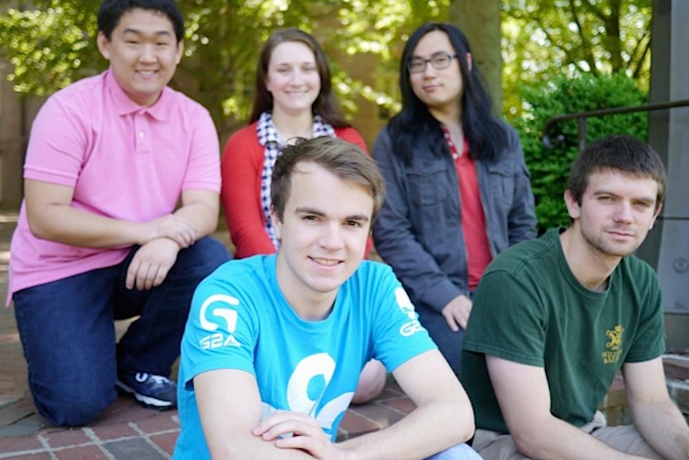 Five 2015 JETs:  Jack Powers, and Mark Zuschlag (front); Andrew Kim, Isabel Bush, and Michael Le (rear)