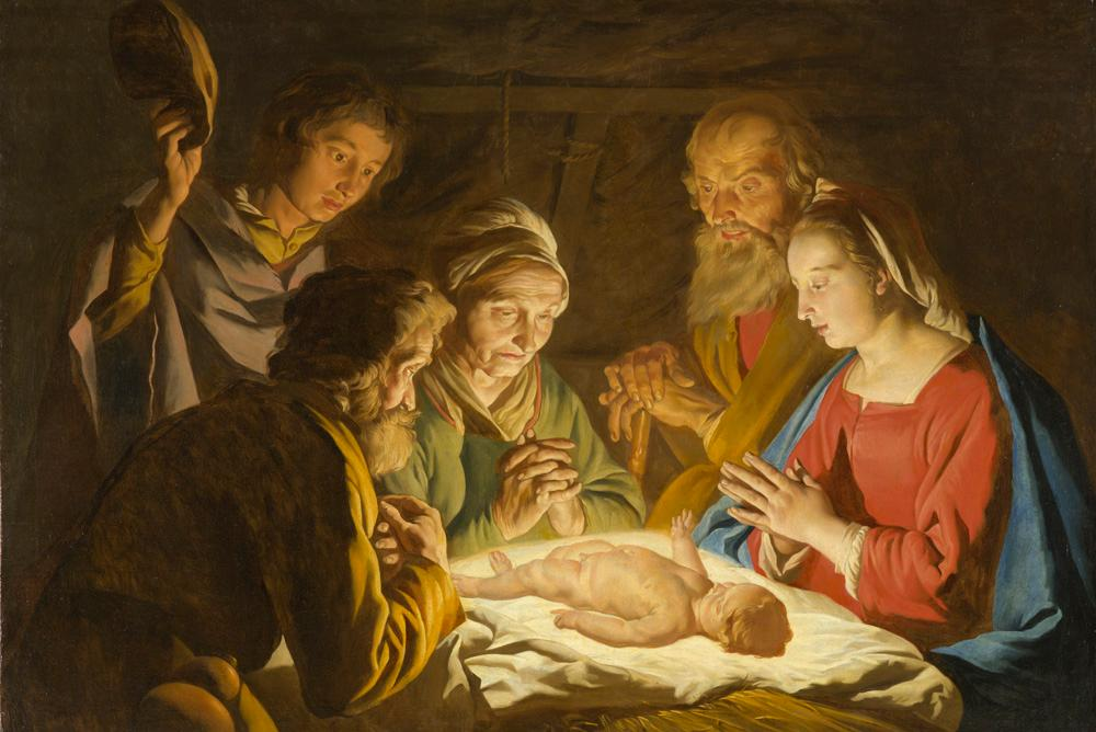 Matthias Stom [Stomer] | The Adoration of the Shepherds, c. 1635 – 1637 | Oil on canvas | NCMA