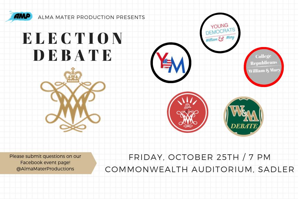 Event time and date: Election Debate on Friday, October 25th at 7pm in Commonwealth Auditorium. The logos of the five other clubs that are participating.