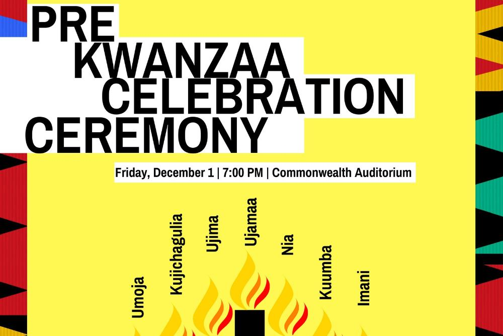 Pre Kwanzaa Celebration Picture feaures candles and the seven principles hosted by William & Mary.
