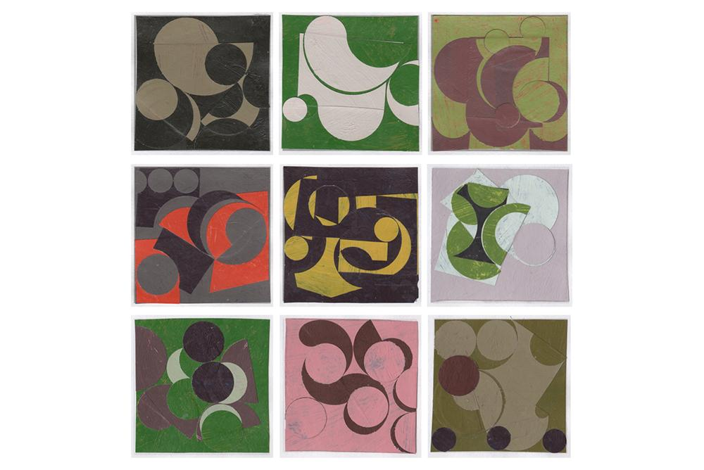 Ken Kewley, Nine Collages, painted paper, 2 x 2 in. each, 2019