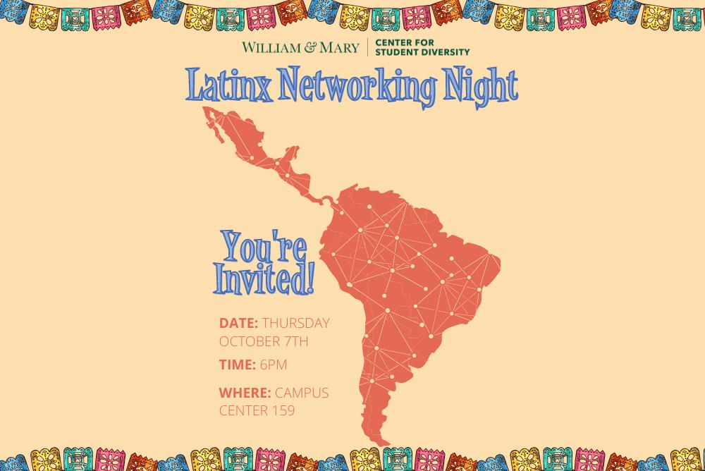 Light peach colored flyer with colorful boarder design presenting information for Latinx Networking Night