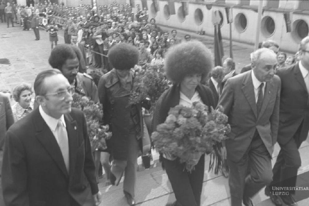 Angela Davis receiving an honorary doctorate  at the Universitaet Leipzig Aug. 13, 1972