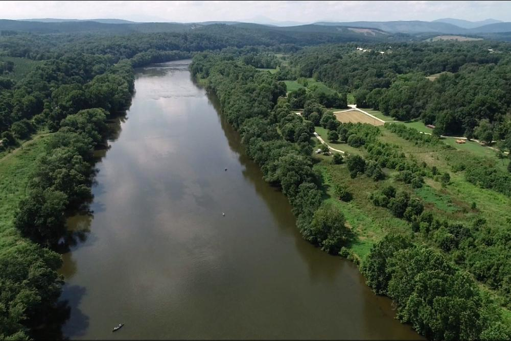 The James River from an oblique aerial view (to the northwest) near James River State Park in Buckingham County, Virginia.