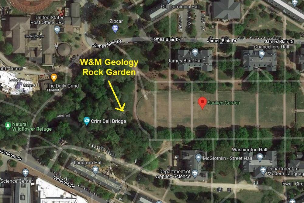 Map of Sunken Garden, showing location of Rock Garden