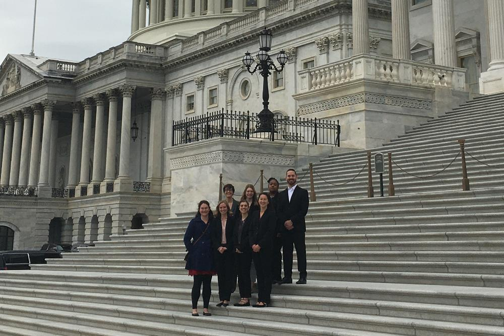 Graduate students on the steps of the U.S. Capital