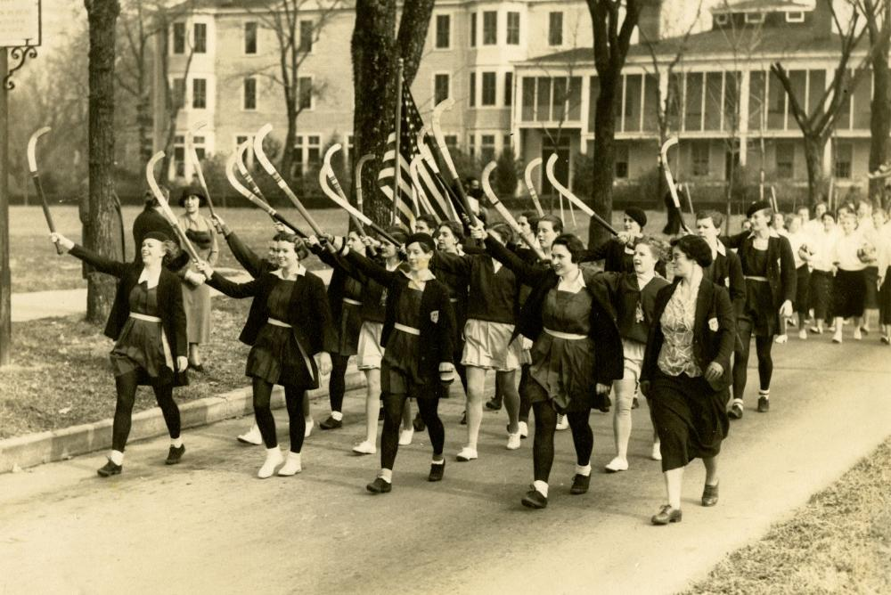 Women's Field Hockey team during Homecoming Parade, 1934