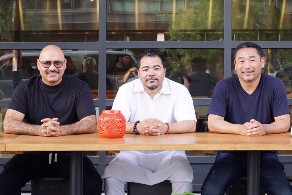 Restaurateur Yama Jawayni (left) with Chef Katsuya Fukumshima (center)