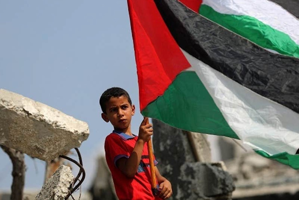 Palestinian child in Gaza holds Palestinian flag in defiance of the illegal  Israeli blockade