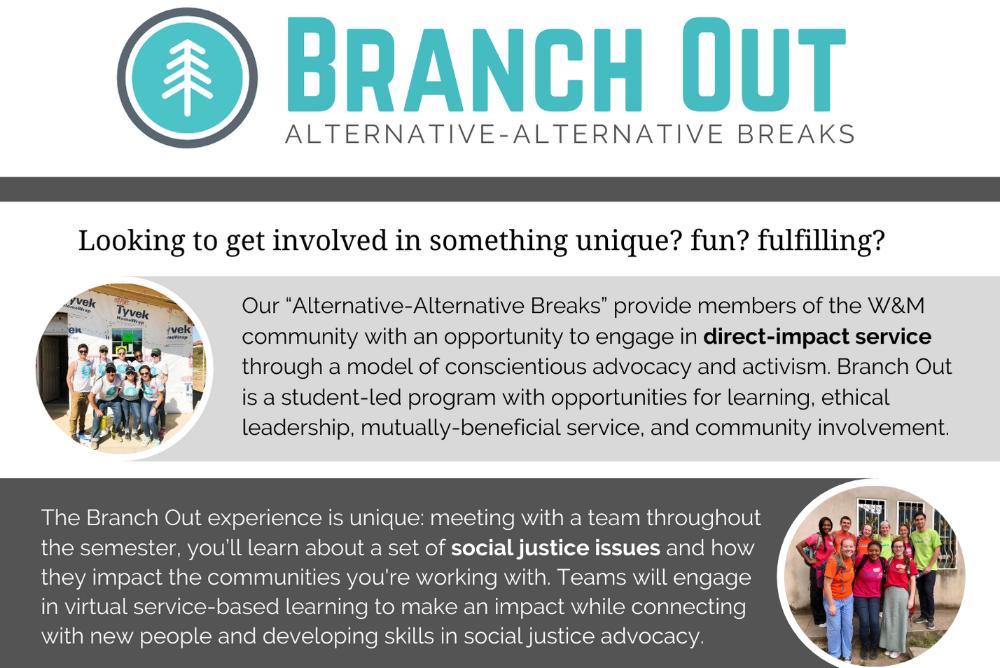 W&M Branch Out - Fall 2020 Program Description