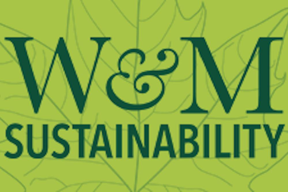 The W&M Sustainability logo in a dark green font over a light green leaf.