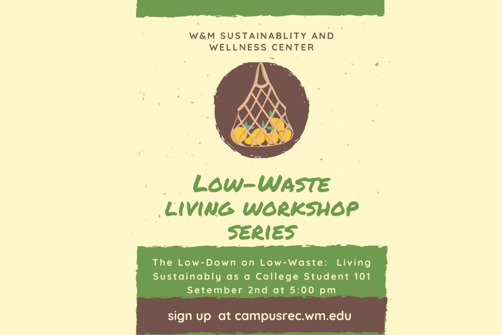 Description of the Low Waste Living Workshop with a netted bag filled with mangos as the center art.