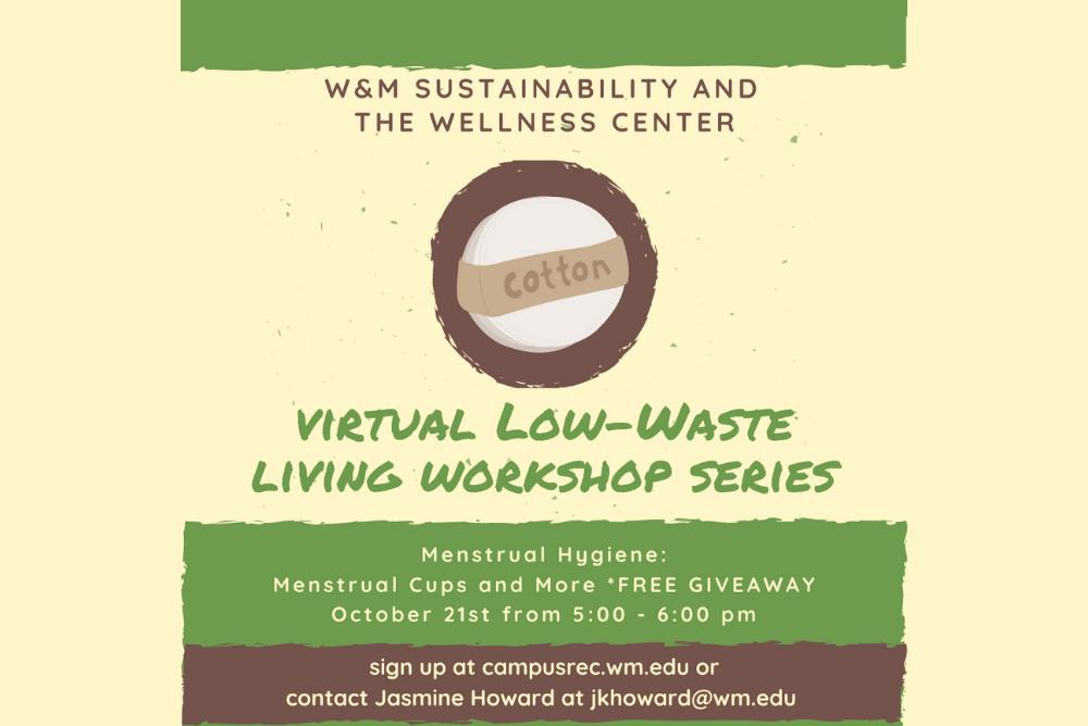 Virtual Low-Waste Living Workshop series information (5PM on Oct. 21). A bunch of cotton pads. Free Giveaway at this event!