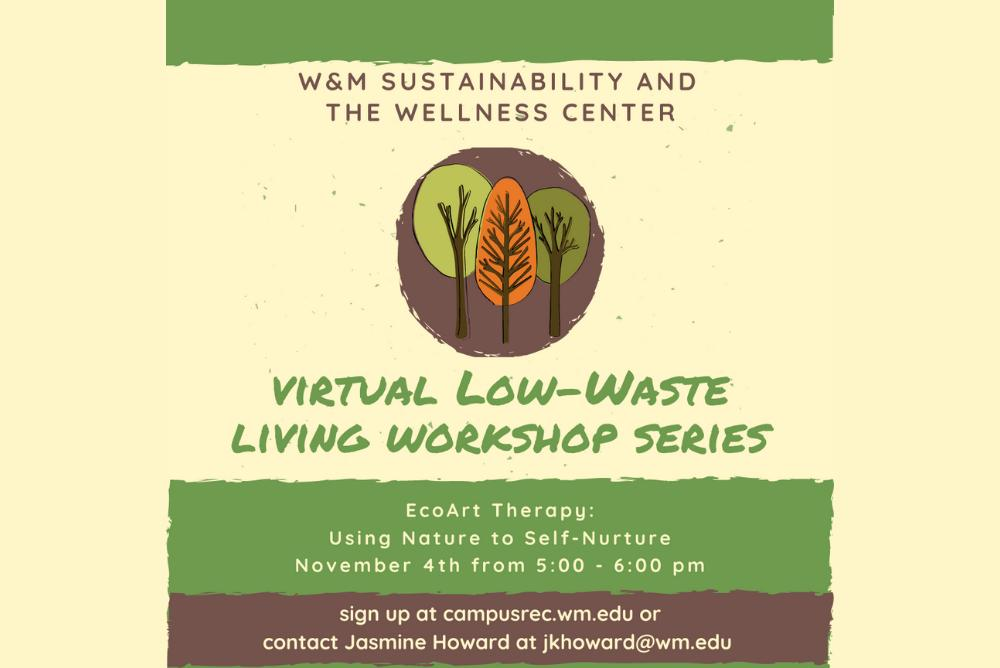 Virtual Low-Waste Living Workshop series information (5PM on Nov. 4). Three green and orange trees.