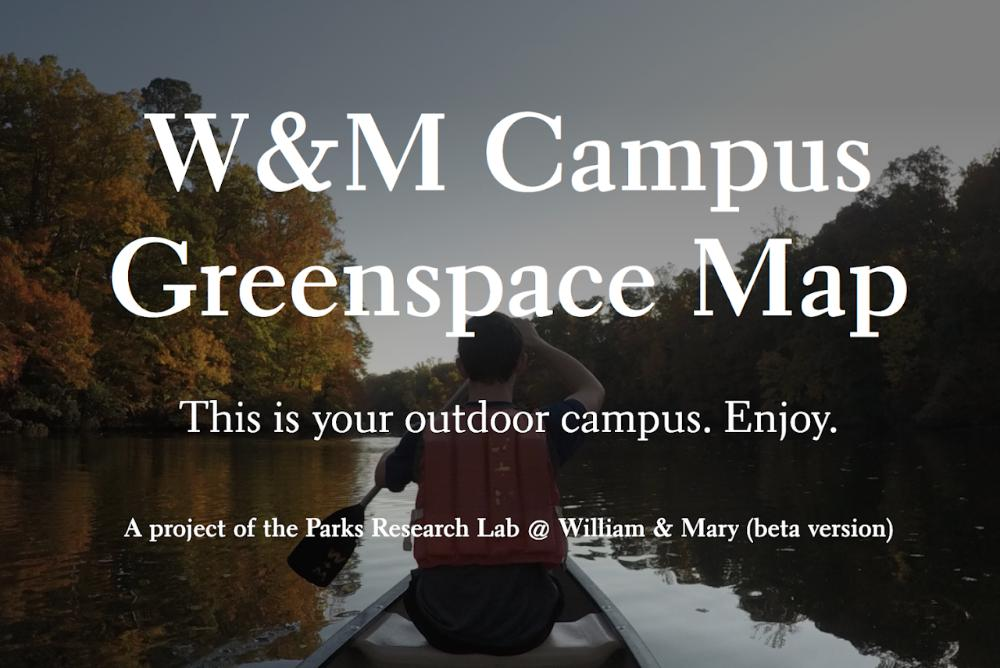 W&M Campus Greenspace Map description over a person canoeing on Lake Matoaka.