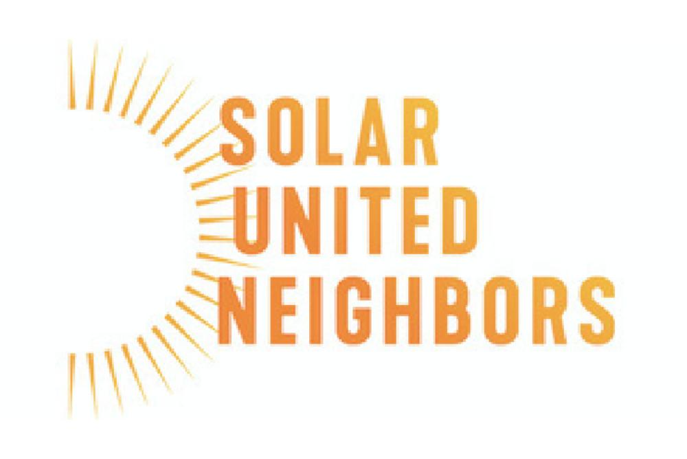 Solar United Neighbors in an ombre orange to yellow color. A sun silhouette on the left side.
