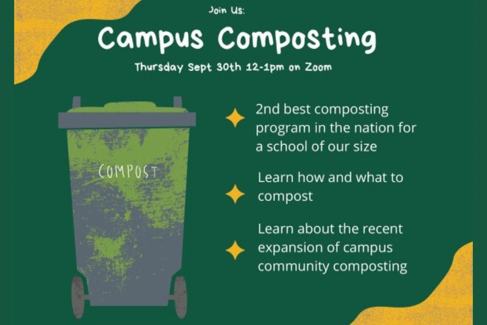 Campus composting. Image of a composting bin.