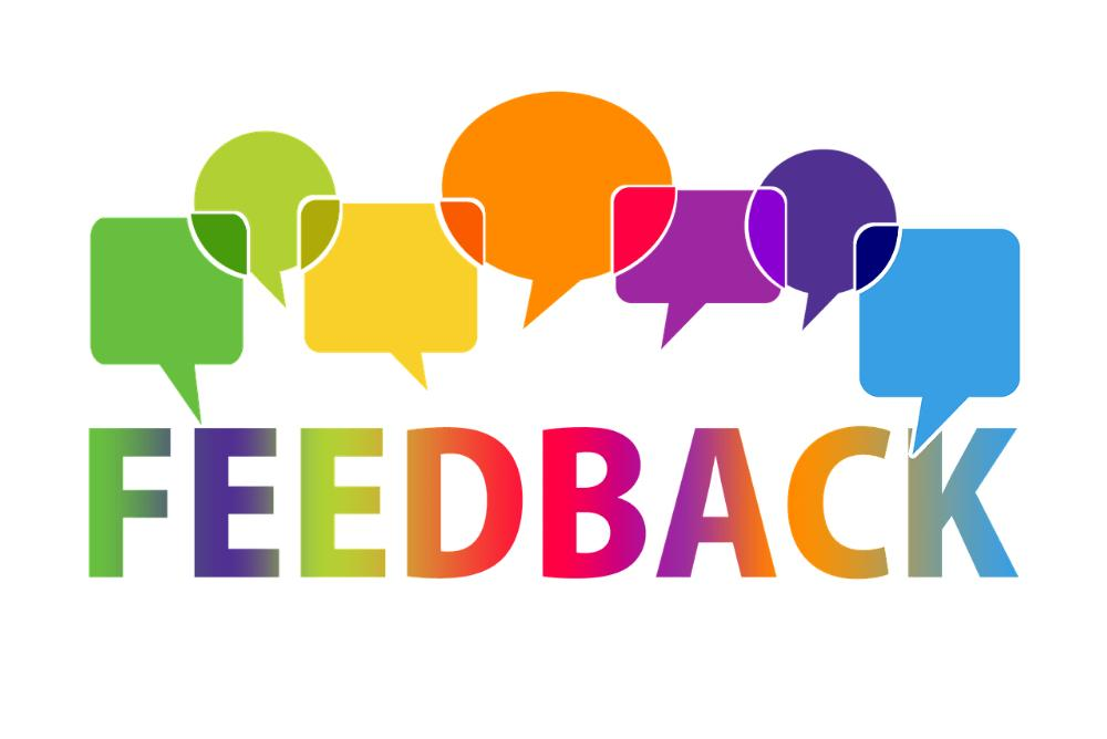 speech bubbles with the word Feedback written under them