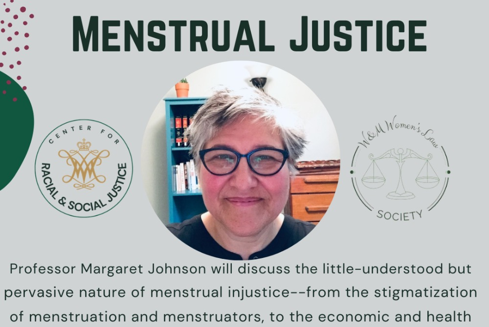 Menstrual Justice with image of speaker.