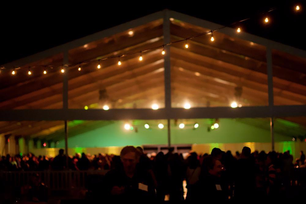 Reunion reception tent in the evening