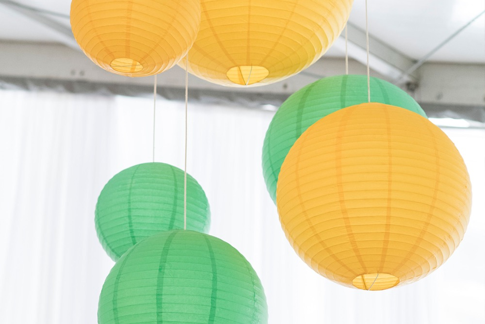 Green and gold paper lantern decorations