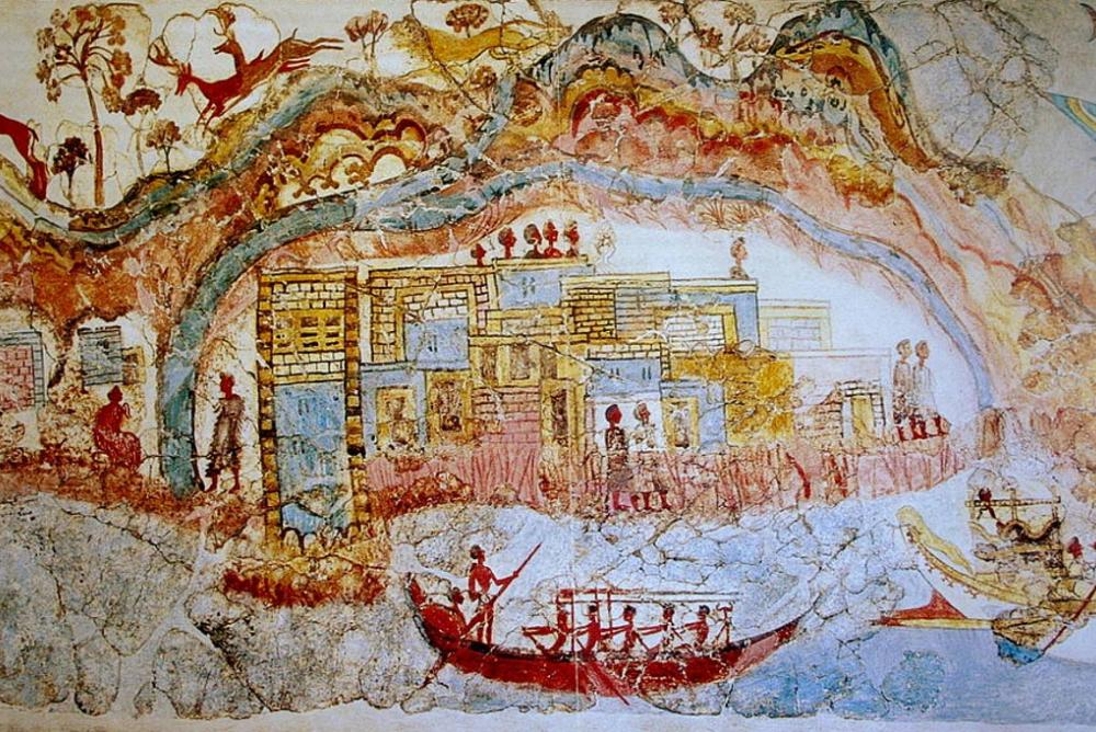 Akrotiri (Thira) Miniature Ship Fresco
